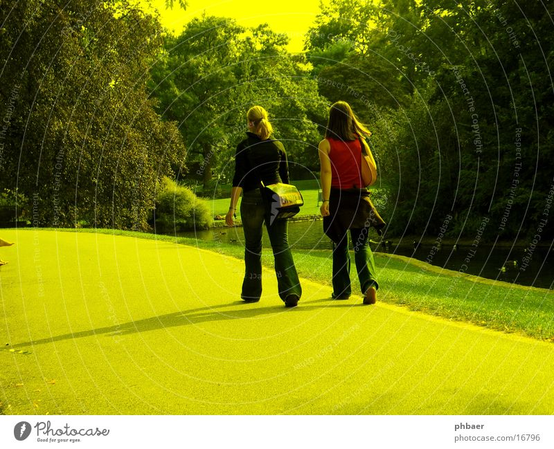 Woman Youth (Young adults) Tree Sun Red To talk Meadow Feminine Lanes & trails Park Brown 2 Blonde Going Back Jeans