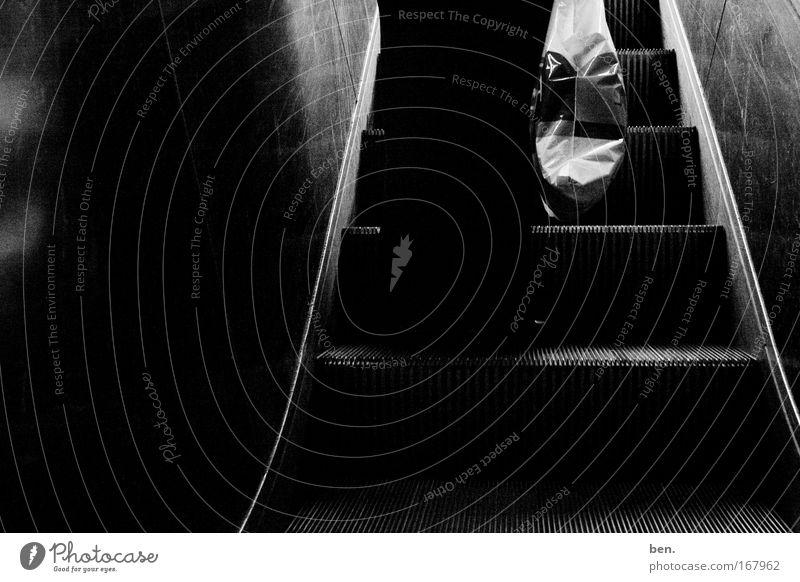 inkaun Black & white photo Back-light Human being Legs 1 Escalator Plastic bag