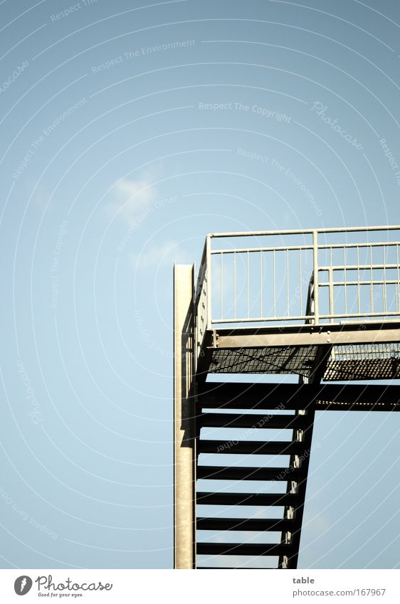 up or down? Exterior shot Economy Logistics Career Success Sky Beautiful weather House (Residential Structure) Bridge Architecture Stairs Fire ladder