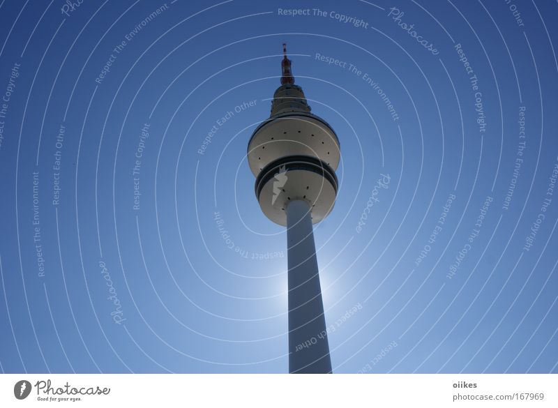 Blue Architecture Modern Tall Future Telecommunications Tower Hamburg Manmade structures Cloudless sky Landmark Graphic Upward Tourist Attraction Vertical
