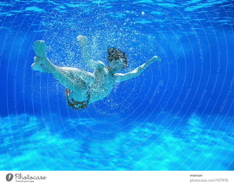 Human being Child Youth (Young adults) Blue Summer Joy Relaxation Life Boy (child) Movement Underwater photo Infancy Leisure and hobbies Swimming & Bathing Lie