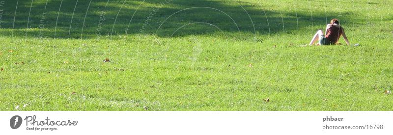 Woman Nature Sun Green Plant Relaxation Meadow Grass Park Back Sit Reading Lawn Free space Darmstadt Rear side