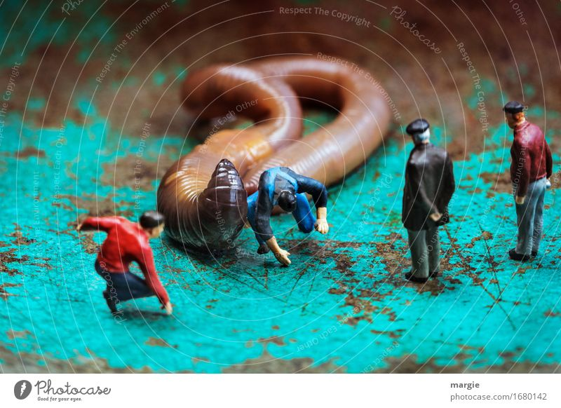 Miniworlds - Worm Rodeo Ride Equestrian sports Human being Masculine Man Adults 4 Animal 1 Jump Brown Turquoise Fear Landscape format To fall Observe Audience
