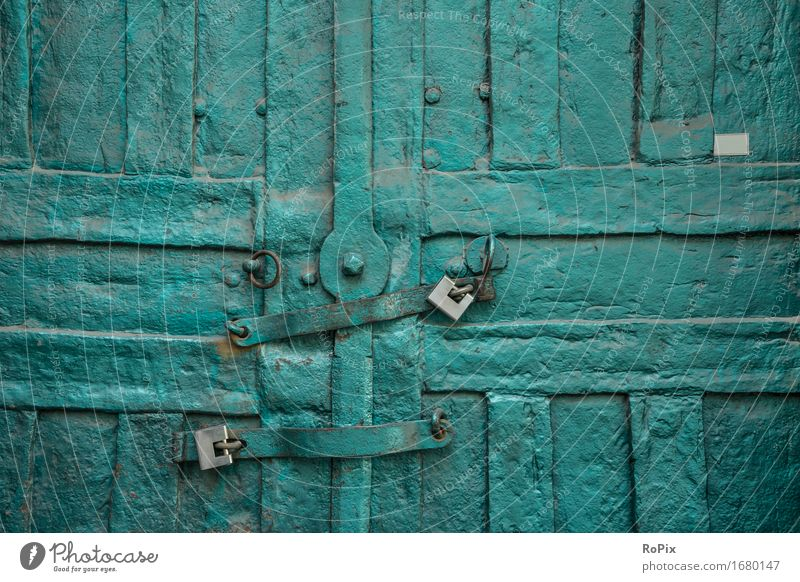 City Old Blue Green Calm Architecture Building Moody Metal Door Esthetic Historic Safety Manmade structures Factory Tourist Attraction