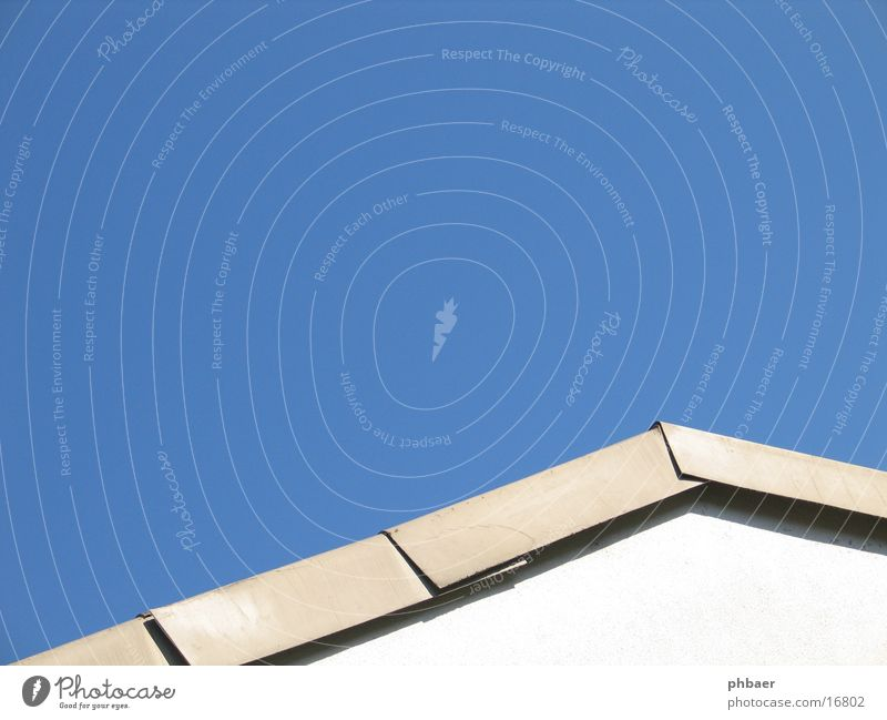 roof Roofing tile Corner Triangle Wall (building) White Abstract Architecture roof edge Sky Blue