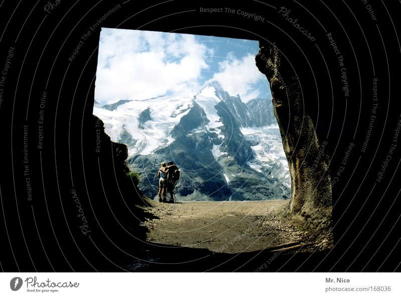 tunnel vision Exterior shot Vacation & Travel Trip Far-off places Mountain Hiking Couple 2 Human being Environment Nature Landscape Climate change Weather Rock