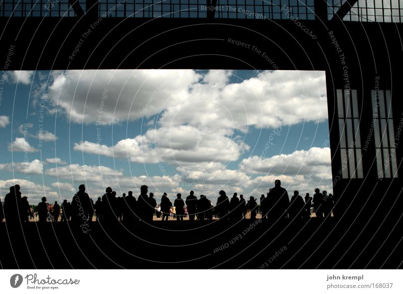 Raise the curtain! Colour photo Subdued colour Copy Space top Silhouette Wide angle Human being Crowd of people Berlin Capital city Airport Aviation Airplane