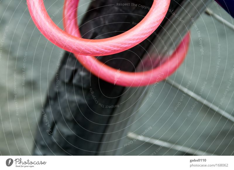 Think Pink! Colour photo Exterior shot Close-up Detail Deserted Evening Twilight Deep depth of field Bicycle Technology Transport Means of transport