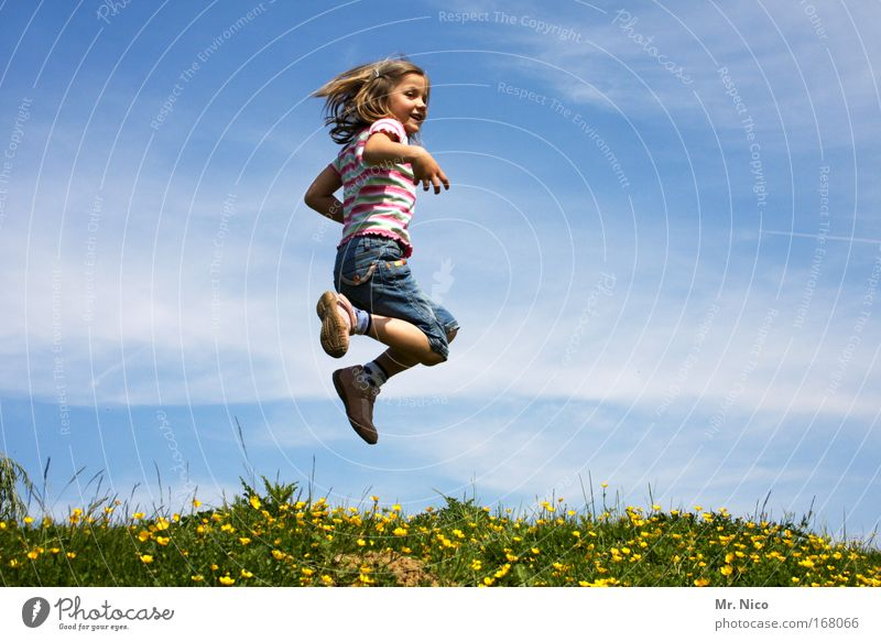 feel free I Exterior shot Playing Girl Nature Sky Beautiful weather Meadow Hill Jump Romp Hiking Happy Happiness Contentment Joie de vivre (Vitality)