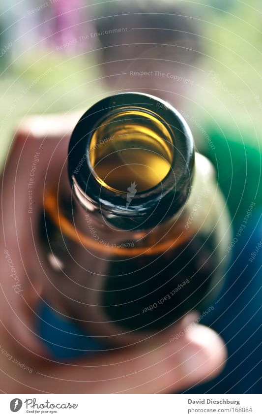 Try some... Colour photo Detail Copy Space top Copy Space bottom Day Contrast Blur Beverage Drinking Cold drink Alcoholic drinks Beer Bottle Brown Yellow