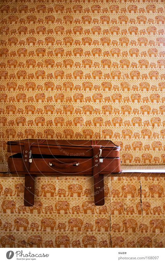 Old Wall (building) Wall (barrier) Brown Room Open Flat (apartment) Lie Design Living or residing Decoration Retro Wallpaper Suitcase Door handle Leather