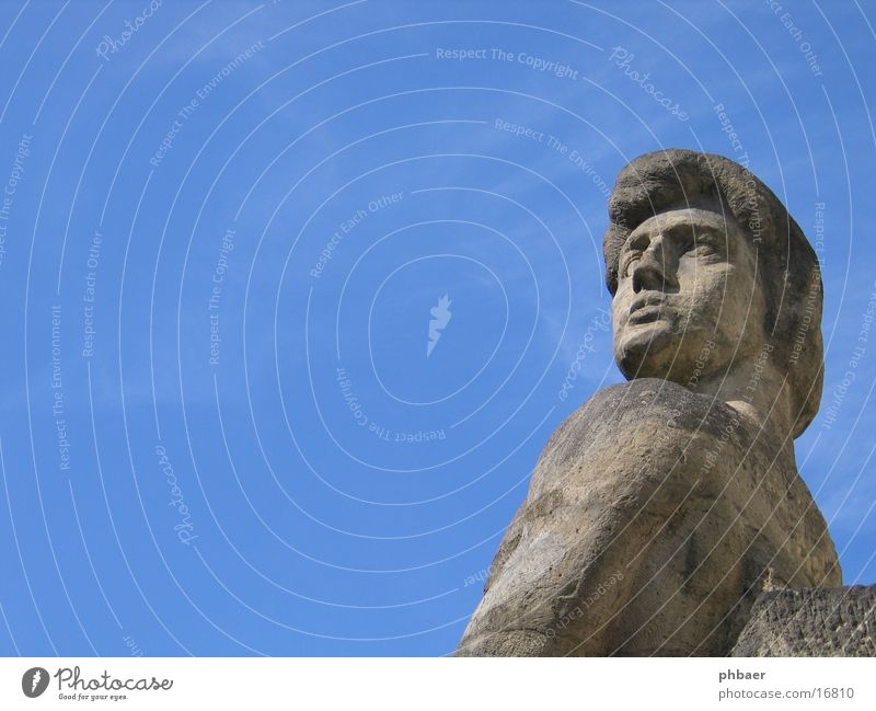 Sky Man Blue Beautiful Gray Head Stone Power Masculine Statue Shoulder Pride Sublime Colony Darmstadt Mathildenhöhe