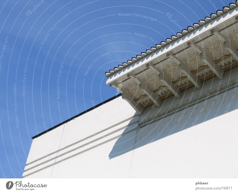Sky White Blue Line Architecture Facade Corner Diagonal Ornament Parallel Canopy Darmstadt Colony Mathildenhöhe