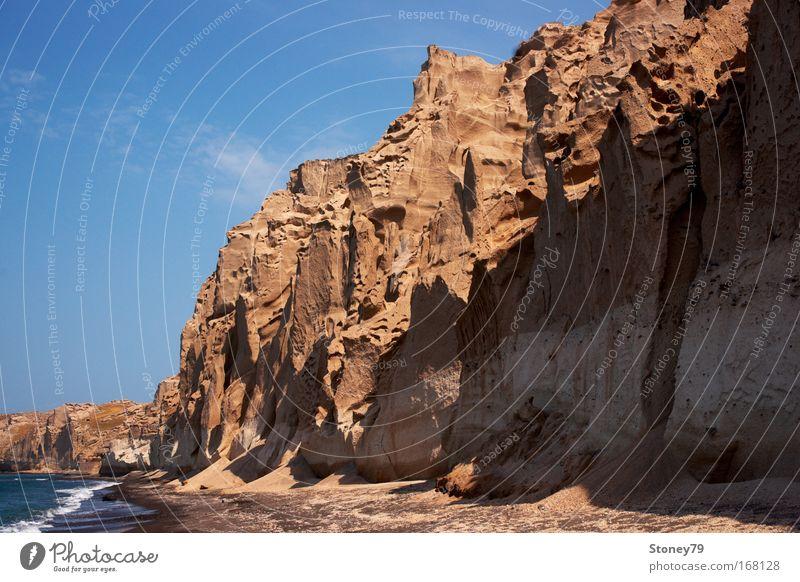 Sky Water Blue Sun Beach Ocean Calm Loneliness Landscape Sand Coast Brown Waves Power Tall Rock