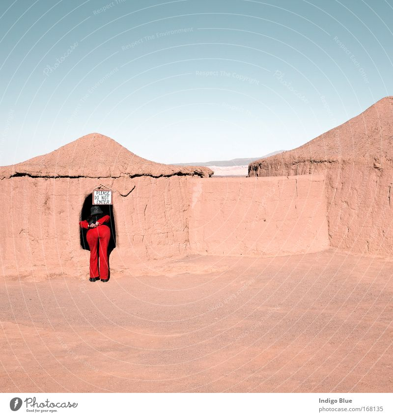 Do not enter... Colour photo Exterior shot Day Deep depth of field Vacation & Travel Tourism Sightseeing Feminine Woman Adults Landscape Earth Sand Sky