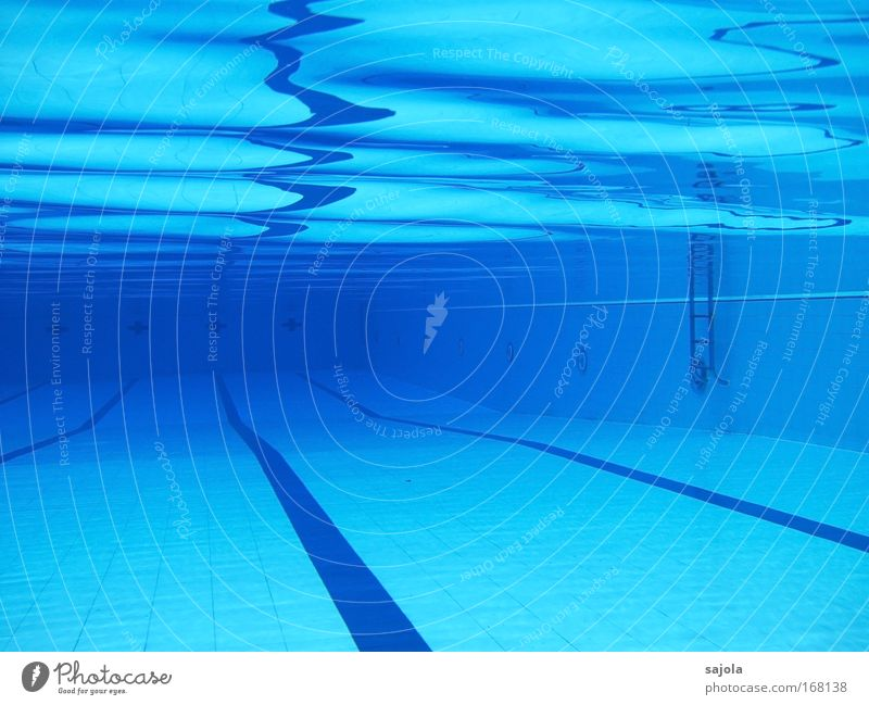 / \ \ \ ' pool Leisure and hobbies Swimming pool Elements Water Blue Joy Perspective Sports Dividing line Ladder Reflection Wave action Aquatics