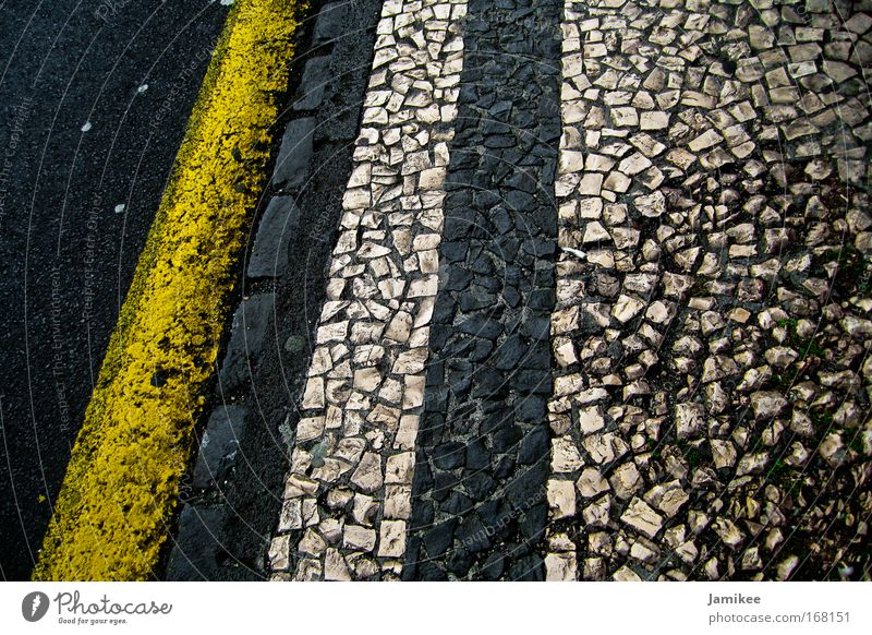 Old White Vacation & Travel Black Yellow Lanes & trails Stone Walking Esthetic Clean Sidewalk Attachment Paving stone Pedestrian Madeira Populated