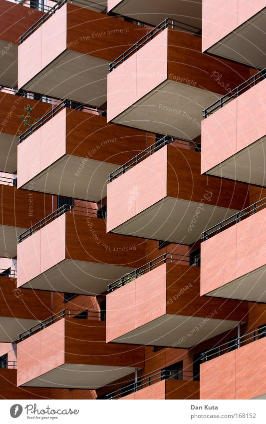 City Red Loneliness House (Residential Structure) Brown Facade Esthetic Perspective Network Firm Balcony Handrail Whimsical Bizarre Symmetry
