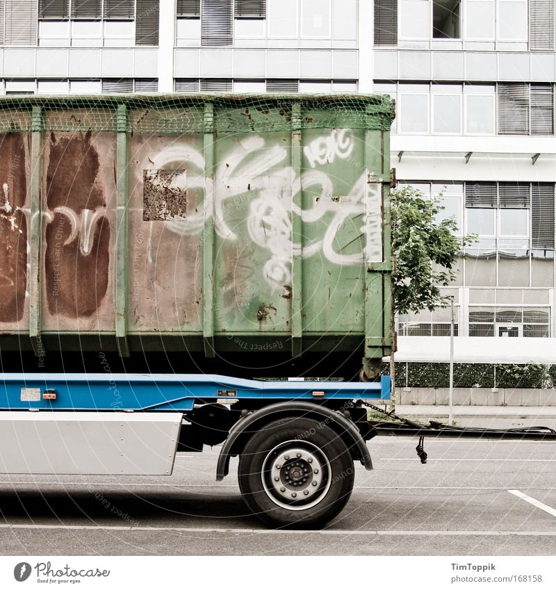 Street Graffiti Road traffic Transport Gloomy Logistics Factory Truck Frankfurt Traffic infrastructure Container Industrial plant Means of transport Trailer Art