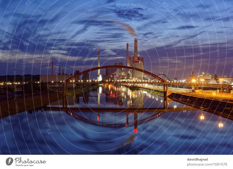 Blue Water Landscape Red Clouds Yellow Architecture Building Germany Air Energy industry Europe Industry Bridge River Manmade structures