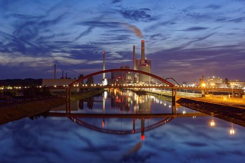 coal-fired power station Industry Energy industry Coal power station Landscape Air Water Clouds Climate Climate change River bank Rhine Mannheim Germany Europe