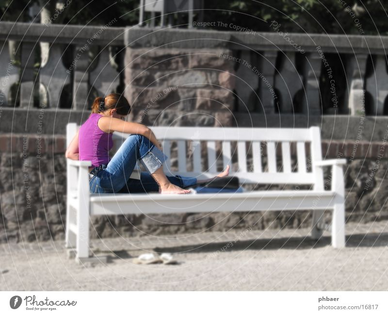 Woman Child White Sun Summer Loneliness Feminine Wall (barrier) Park Book Sit Study Image editing Reading Jeans Bench