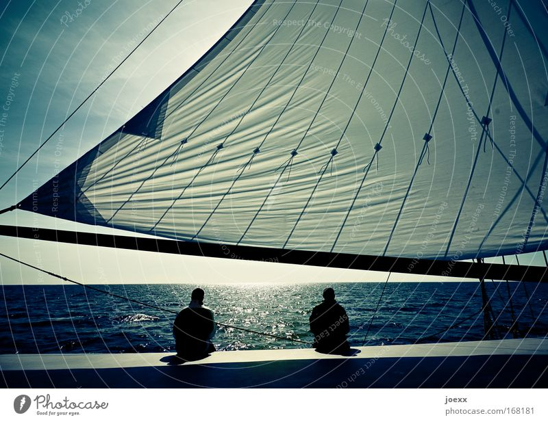 silence Lifestyle Senses Relaxation Calm Vacation & Travel Freedom Sailing Human being Man Adults Couple Partner 2 Water Sky Horizon Sunlight Beautiful weather