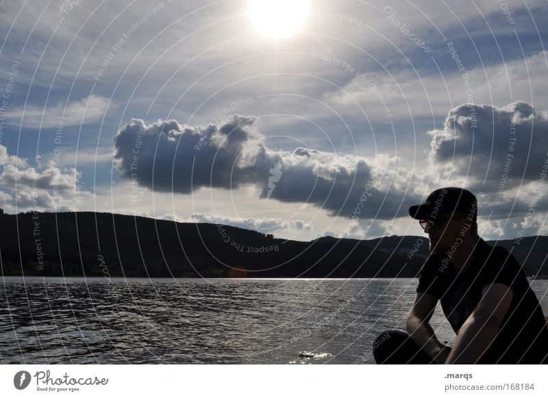 Mr. B. at the lake Subdued colour Exterior shot Sunlight Well-being Contentment Relaxation Calm Leisure and hobbies Man Adults 1 Human being Nature Clouds