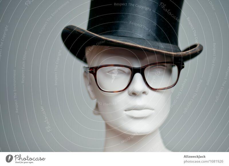 hat model Fashion Eyeglasses Hat Top hat Hip & trendy Retro Gray Black Nostalgia horn-rimmed glasses Model Mannequin Subdued colour Studio shot Deserted