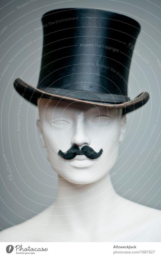 hippster Fashion Hat Top hat Moustache Elegant Hip & trendy Retro Gray Black Nostalgia Model Mannequin Subdued colour Studio shot Deserted Portrait photograph