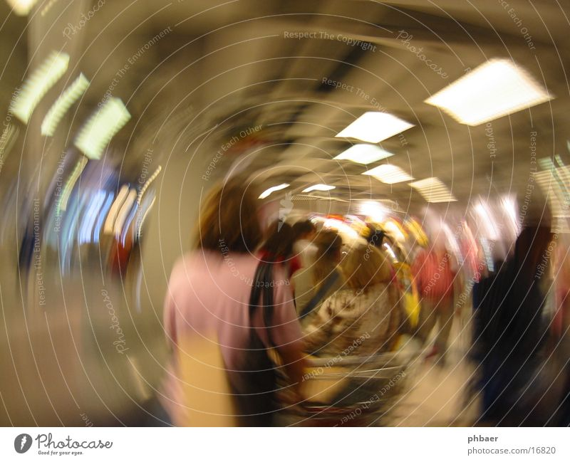 delirium of the coffers Cash register Shopping Store premises Rotate Rotation Tunnel Unconscious Group Row Wait Distorted Circle Focal point Vertigo Queue