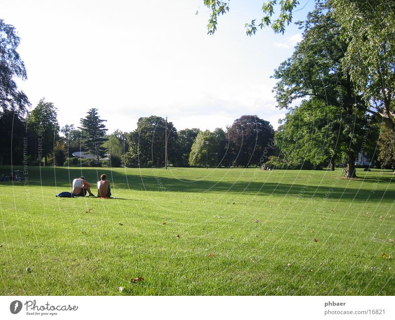 green lung Darmstadt Park Green Plant Tree Grass Meadow Leaf Man Masculine Woman 2 Calm Together To talk master garden Nature Lawn Sky Relaxation Sun Couple
