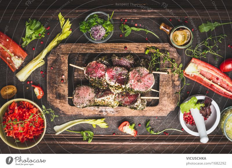 Meat skewers with vegetables for grilling Food Vegetable Lettuce Salad Herbs and spices Nutrition Dinner Picnic Organic produce Bowl Style Design Healthy Eating