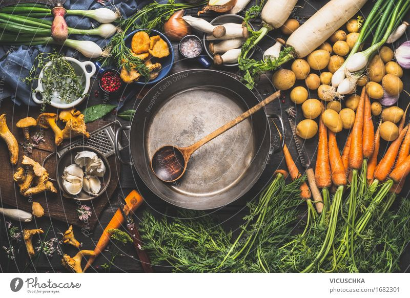 Old pot and spoon and various organic vegetables Food Vegetable Herbs and spices Cooking oil Nutrition Lunch Dinner Organic produce Vegetarian diet Diet