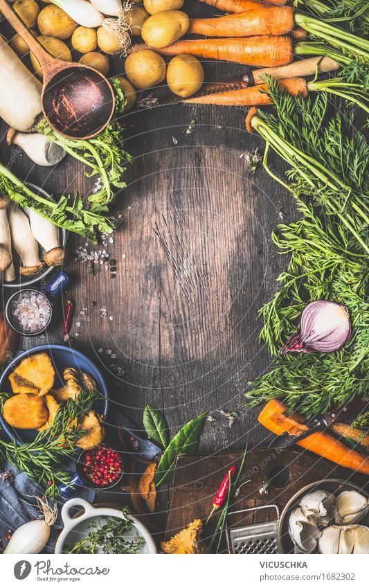 Healthy Eating Life Food photograph Autumn Style Design Nutrition Table Cooking & Baking Herbs and spices Kitchen Vegetable Organic produce Harvest Restaurant Mushroom
