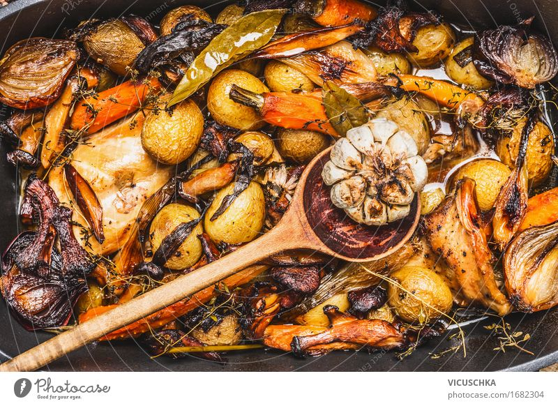 Healthy Eating Food photograph Autumn Style Design Nutrition Herbs and spices Vegetable Organic produce Meat Dinner Lunch Banquet Spoon Rustic