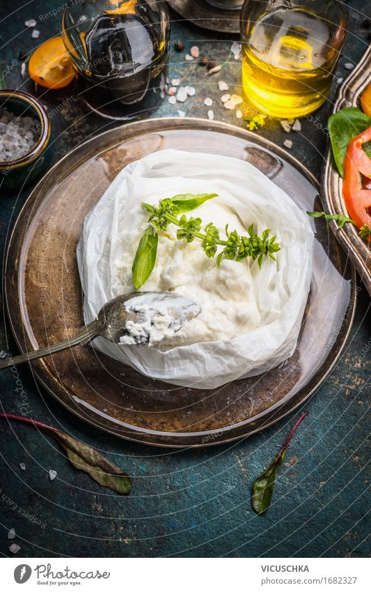 Handmade ricotta cheese on a rustic kitchen table Food Cheese Herbs and spices Cooking oil Nutrition Organic produce Italian Food Crockery Plate Bowl Spoon