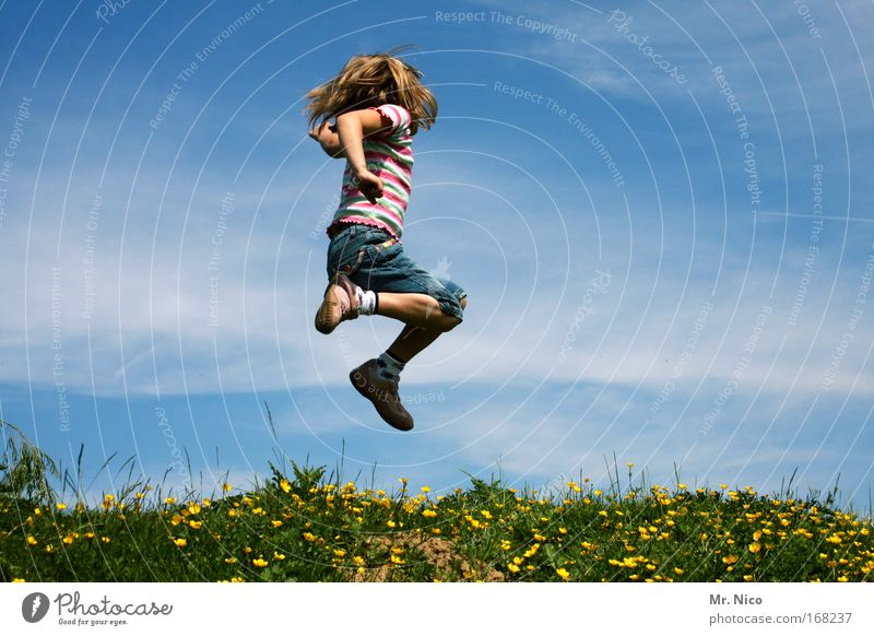 Sky Child Girl Summer Joy Landscape Playing Freedom Grass Jump Blonde Wild Hiking Happiness Hill Beautiful weather