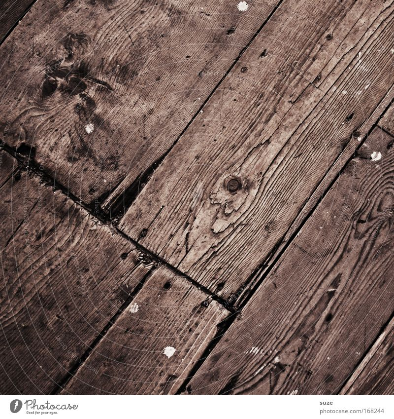 Auf´m Wooden path Floor covering Old Authentic Simple Dry Brown Wood grain Knothole Floorboards Expired Wooden floor Wooden board Texture of wood Rustic