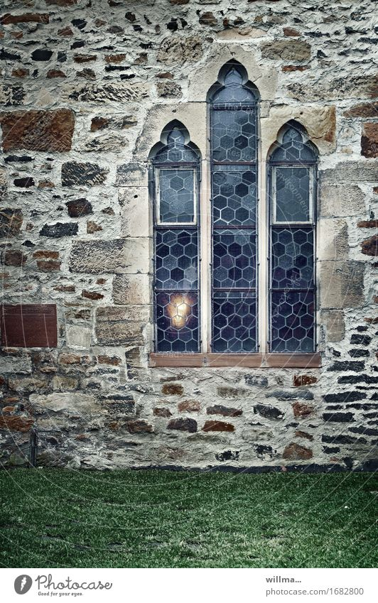 The eternal light   AST9 Church Manmade structures Building Architecture Monastery Gothic period Masonry Window Church window Wall (building) Stone wall