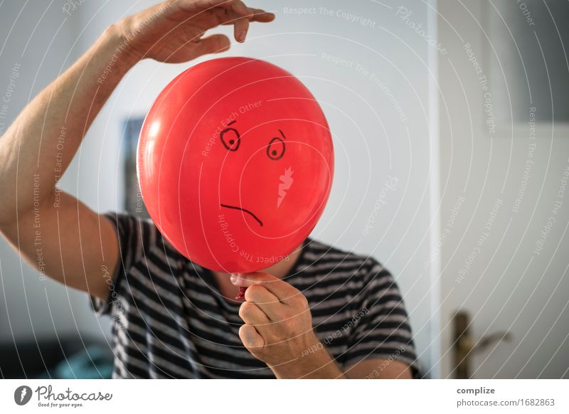 sad balloon Beautiful Healthy Workplace Business Career Man Adults Face Toys Sign Emotions Moody Sadness Concern Grief Stress Distress Perturbed Aggravation