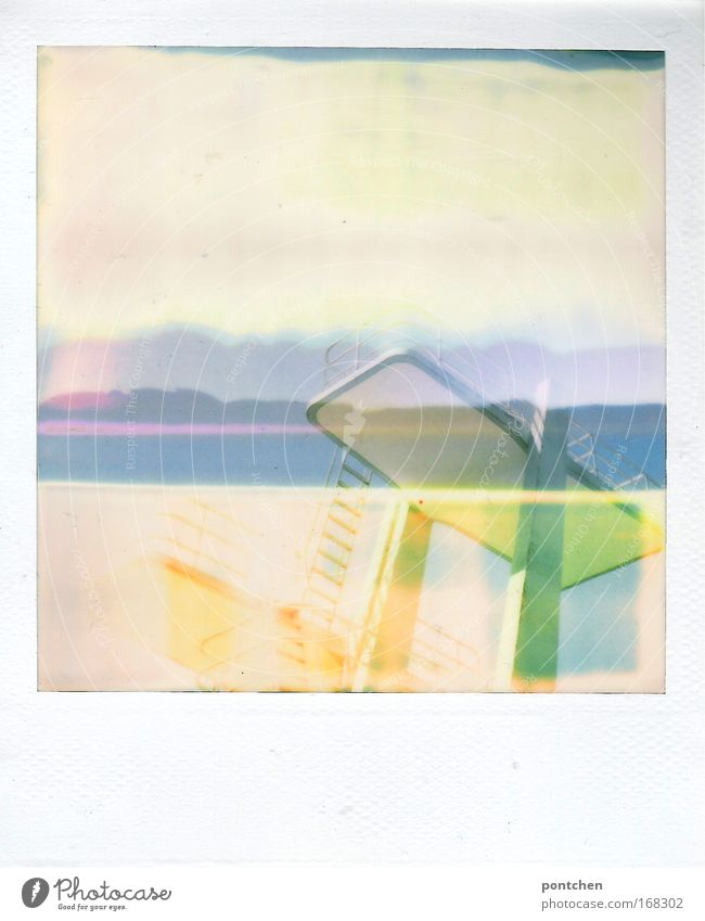 Joy Polaroid Vacation & Travel Sports Leisure and hobbies Trip Tourism Swimming pool Exceptional Double exposure Abstract Shaft of light Open-air swimming pool Experimental Sporting Complex