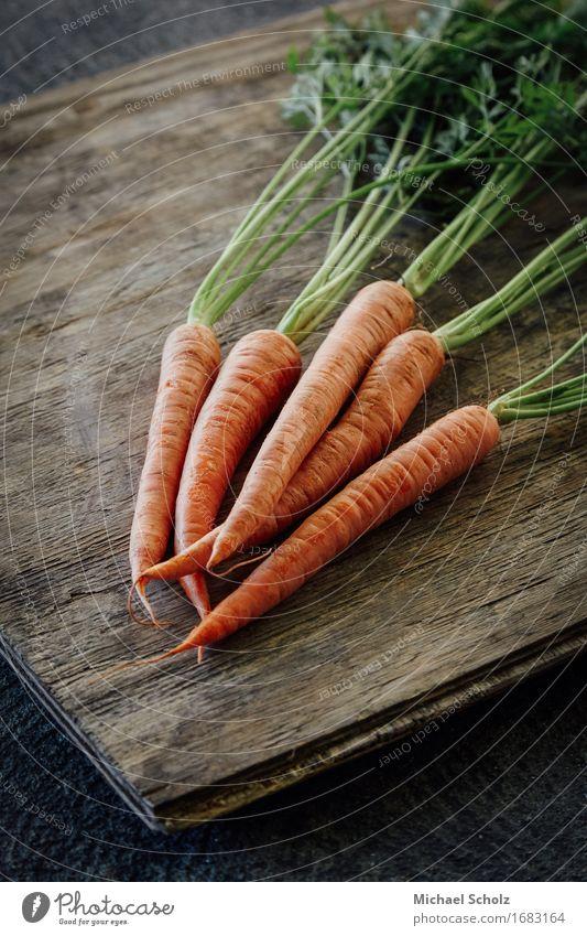 Bunch of carrots Food Vegetable Lettuce Salad Nutrition Eating Juice Healthy Eating Wood Diet To feed Esthetic Good Original Green Orange Fresh Produce