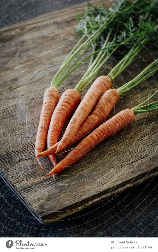 Bunch of carrots Green Healthy Eating Wood Food Orange Field Fresh Nutrition Esthetic Vegetable Good To feed Diet Salad