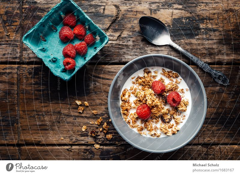 Breakfast Cereals Healthy Eating Wood Table Fitness Delicious Dessert To feed Diet Milk Spoon Feeding Cook Raspberry