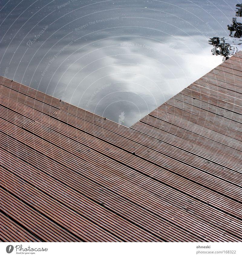 footbridge Subdued colour Pattern Copy Space bottom Water Sky Clouds Threat Flexible Orderliness Footbridge Lake Pond Branch Tree landing Calm Wood Panels Day