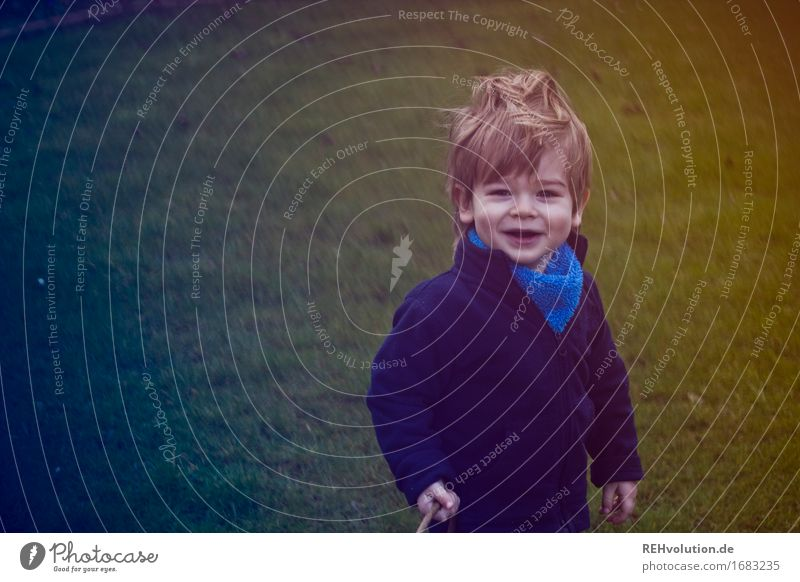 Human being Child Nature Joy Environment Meadow Funny Boy (child) Small Happy Garden Hair and hairstyles Masculine Contentment Infancy Wind