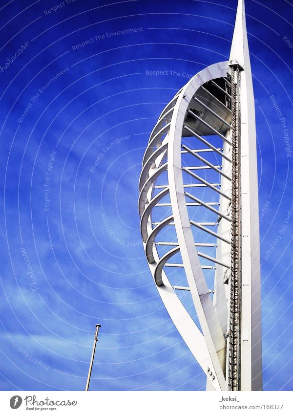 Spinnaker Tower Portsmouth Colour photo Exterior shot Close-up Copy Space left Day Architecture Tourist Attraction Blue White Great Britain