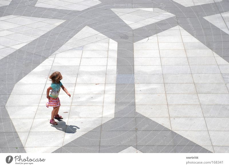 model dance Colour photo Exterior shot Day Light Shadow Looking back Looking away Dance Child Girl 1 Human being 3 - 8 years Infancy Stage play Dancer Town