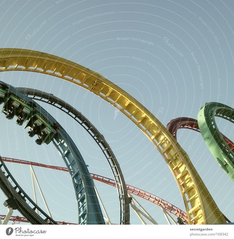 Human being Blue Green Red Summer Joy Yellow Freedom Fear Flying Transport Speed Circle Round Driving To hold on